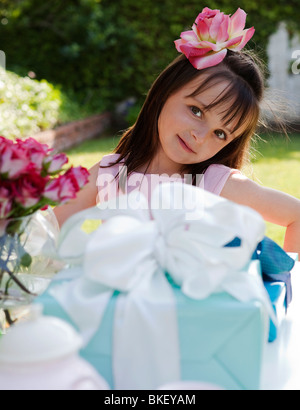 Girl at Birthday party Banque D'Images