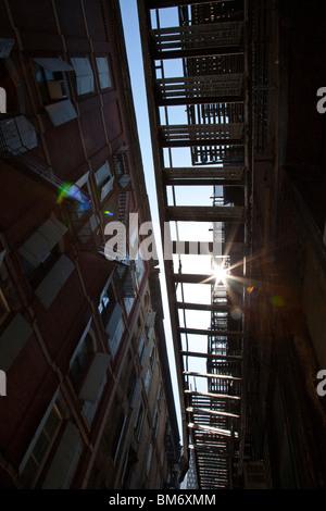 Un escalier de secours de Cortlandt Alley, Tribeca, New York City Banque D'Images