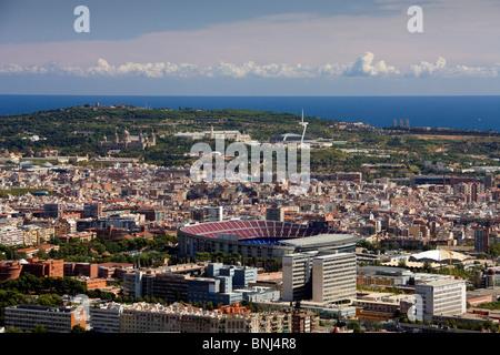 Espagne Barcelone Camp Nou ville ville montagne Montjuich stadium sommaire Banque D'Images