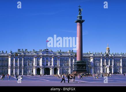 La Russie à l'été 2008 Saint Petersburg city palace square colonne Alexandre Musée du Palais de l'Ermitage Banque D'Images