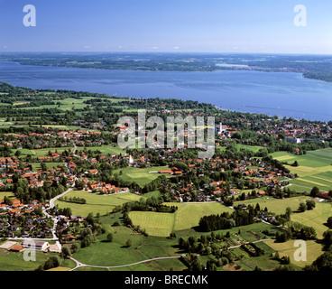 Diessen am Ammersee, Alpes, Upper Bavaria, Germany, Europe, vue aérienne Banque D'Images