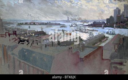 La ville de New York. Vue de la baie, East River, Gouverneur de l'Île, bas de Manhattan, la Statue de la liberté Banque D'Images