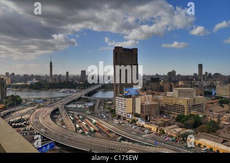 Panorama du centre-ville du Caire à l'ouest et du Nord. Banque D'Images