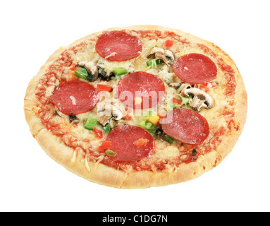 Pizza Salami isolated on white Banque D'Images