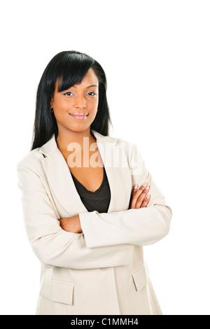 Happy black businesswoman with arms crossed isolé sur fond blanc Banque D'Images