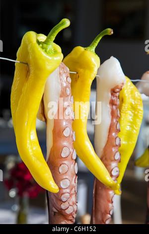 Octopus (ohtapodi) sécher à l'extérieur d'un restaurant à Fira, Santorin (thira), Cyclades, Mer Égée, Grèce, Europe Banque D'Images