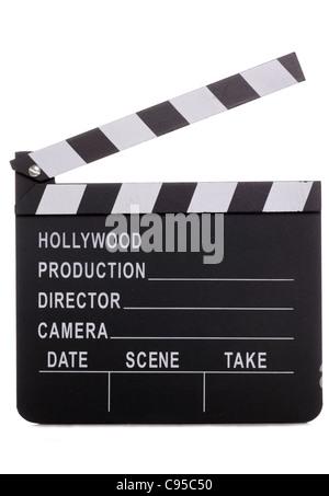 Movie clapper board sur fond blanc Banque D'Images