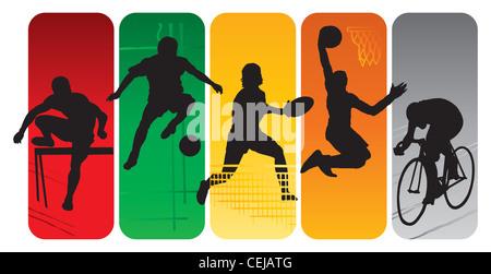 Silhouettes Sport sur un fond abstrait Banque D'Images