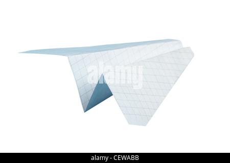 Paper plane sur l'isolé sur fond blanc Banque D'Images