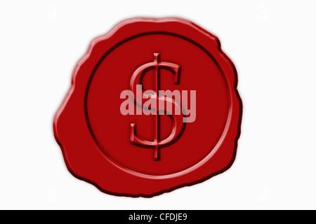 Photo détail d'un sceau rouge avec un symbole de devise Dollar américain au milieu Banque D'Images