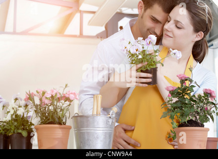 Couple de-potting plantes ensemble Banque D'Images