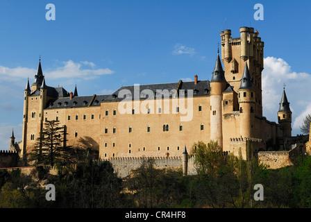 L'Espagne, Castille-Leon, Segovia, vieille ville du patrimoine mondial de l'UNESCO, l'Alcazar, palais fortifié construit Banque D'Images
