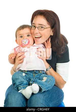 Mère avec bébé, 8 mois Banque D'Images