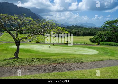 Practice putting green et un practice de golf Club Ko'olau près de Plage de Ko'olau à Kaneohe, Hawaii. Banque D'Images