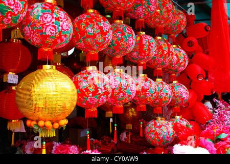 Lanterne lanternes, boutique, préparatifs de la fête du Nouvel An Chinois, Chinatown, Kuala Lumpur, Malaisie, Asie Banque D'Images