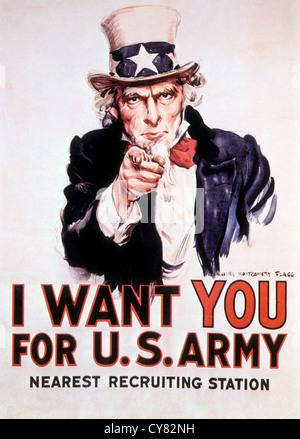 Je veux que vous pour l'armée américaine, 1917, Affiche de recrutement Banque D'Images