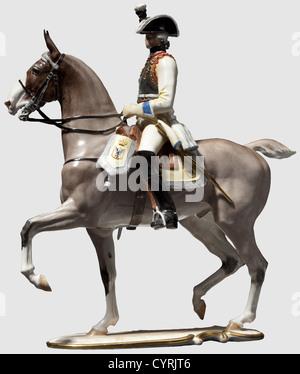 Un Seydlitz-Cuirassier Allach, officier d'une usine de porcelaine très rare version de la figure de porcelaine peint Banque D'Images