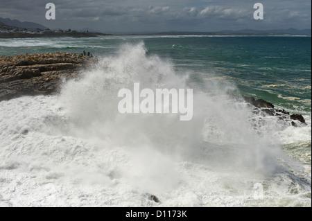 L'écrasement de l'onde sur les roches, Hermanus, Afrique du Sud Banque D'Images