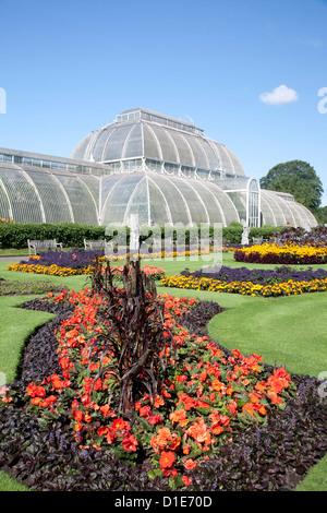 Palm House parterre avec affichage floral d'env 16000 Plantes, Jardins botaniques royaux de Kew, près de Richmond, Banque D'Images