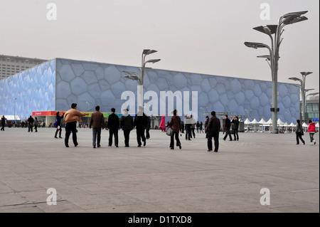 Le centre national de natation de Pékin, Chine Banque D'Images
