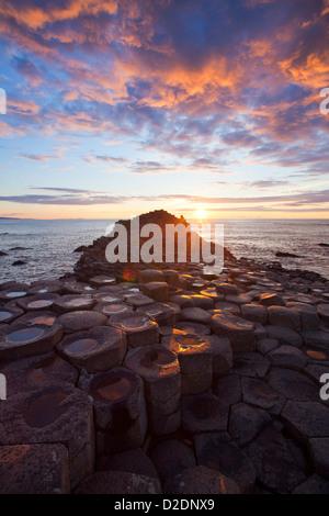 Coucher de soleil sur le Giant's Causeway, le comté d'Antrim, en Irlande du Nord. Banque D'Images