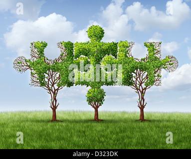 Connexion réseau en pleine croissance avec un groupe de trois arbres en forme de pièces de puzzle denteux united Banque D'Images