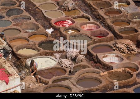 Travailleur dans les fosses de teinture de la Tannerie Chouara, Fes, Maroc Banque D'Images