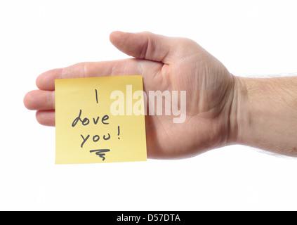 Post-it sur part dire Je t'aime Banque D'Images