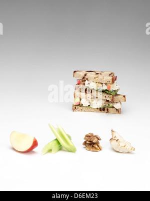 Sandwich au poulet et aux pommes Banque D'Images