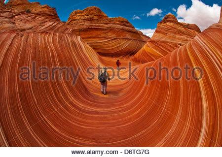 Les randonneurs explorer 'La vague', a 190 millions d'années d'âge jurassique grès Navajo rock formation, Coyote Banque D'Images