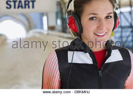 Portrait de femme pour la préparation de l'athlète de skeleton race Banque D'Images