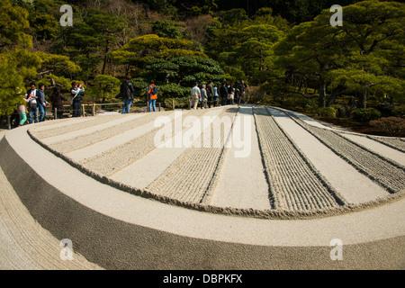 Structure du sable dans le Ginkaku-ji Temple Zen, UNESCO World Heritage Site, Kyoto, Japon, Asie Banque D'Images