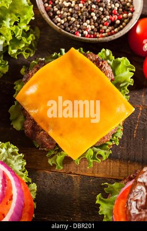 Fromage Gourmet Burger sur un rouleau de bretzel avec laitue et tomate Banque D'Images