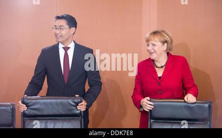 La chancellerie allemande, Berlin, Allemagne. Le 04 août, 2013. La chancelière allemande Angela Merkel et le ministre Banque D'Images