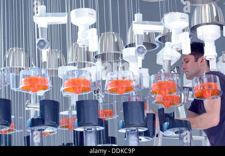 Berlin, Allemagne. Le 04 août, 2013. Un employé de l'appareils hans kirchen par Bosch à la foire de Berlin, Allemagne, Banque D'Images