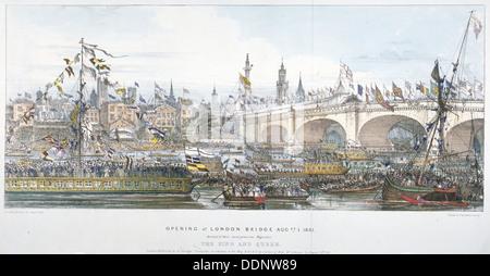 Cérémonie d'ouverture du nouveau pont de Londres, 1831. Artiste: Graf, Engelmann et Co Banque D'Images