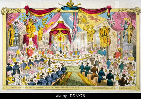 Inauguration royale de London Bridge, 1831. Artiste: Anon Banque D'Images