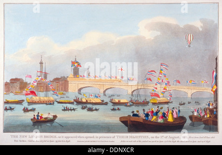L'ouverture de pont de Londres par le roi Guillaume IV et la reine Adélaïde, 1831. Artiste: Anon Banque D'Images