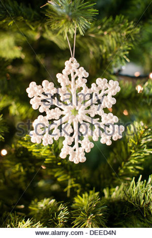 Snowflake Christmas ornament on tree Banque D'Images