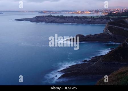 Vue depuis Cabo Mayor, cape, Santander, Camino de la Costa, route côtière, Camino del Norte, le Chemin de Saint Banque D'Images