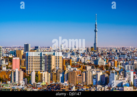 Tokyo, Japon après-midi skyline avec Tokyo Sky Tree. Banque D'Images