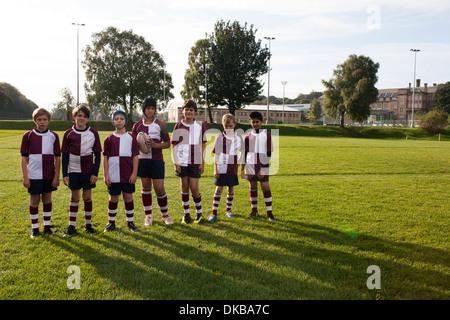 Portrait de l'équipe de rugby d'écolier d'adolescent Banque D'Images