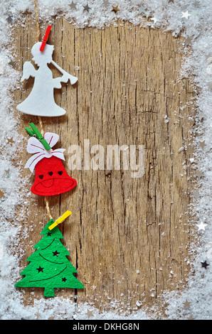 Décoration de Noël sur fond de bois Banque D'Images