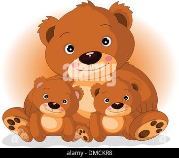 Mère ours brun avec ses fils Banque D'Images