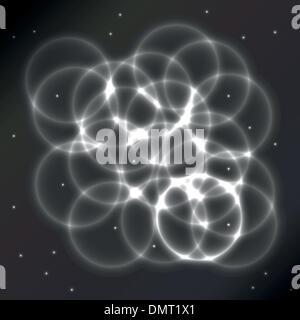 Les cercles brillants sur un fond abstrait Banque D'Images