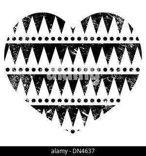 Motif tribal aztèque - cœur, grunge style rétro Banque D'Images