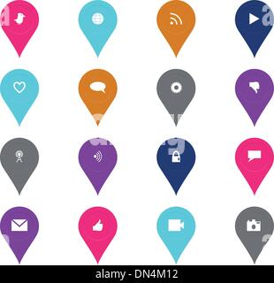 Des technologies et des médias sociaux dans une forme icon set Banque D'Images