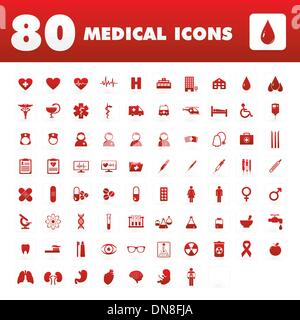 80 icônes médicale Banque D'Images