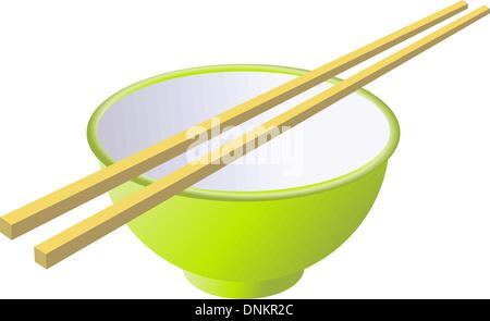 Tasse en céramique avec des bâtonnets de bois. Vector illustration. Banque D'Images