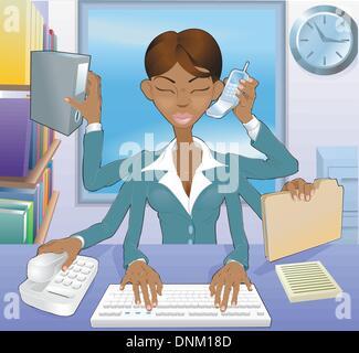 Illustration de noir multi-tâches environnement business woman in office Banque D'Images